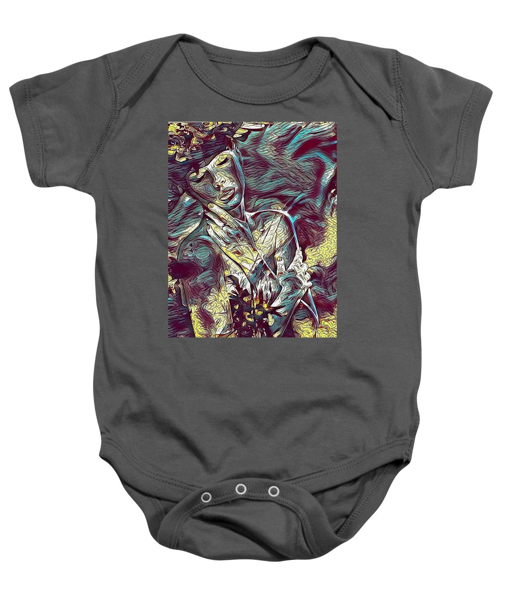 Paint Baby Onesie featuring the digital art Sonya Portrait 2 by Nenad Vasic