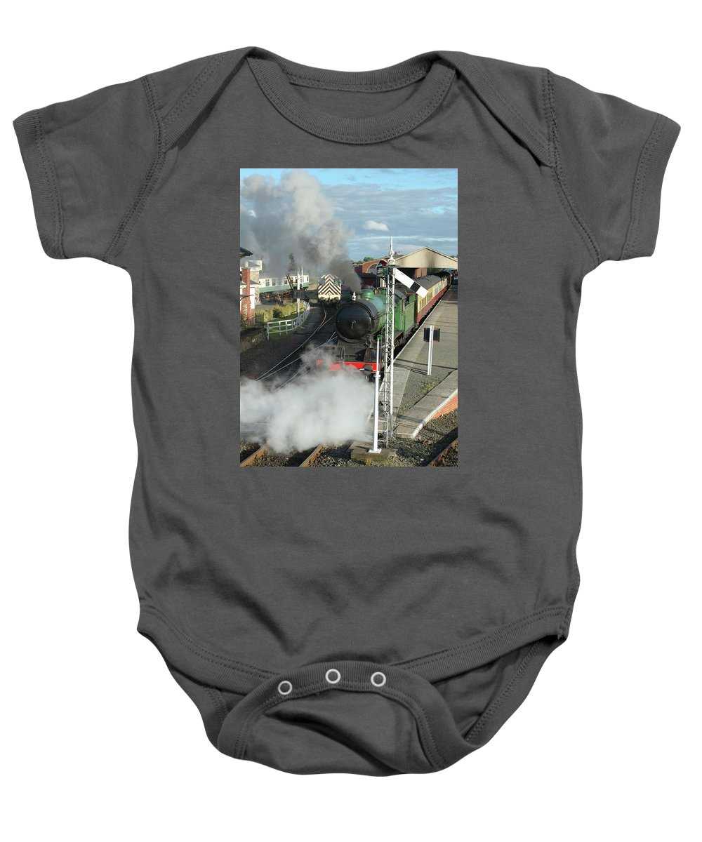 Train Baby Onesie featuring the photograph Steam Train Leaving Station by Victor Lord Denovan