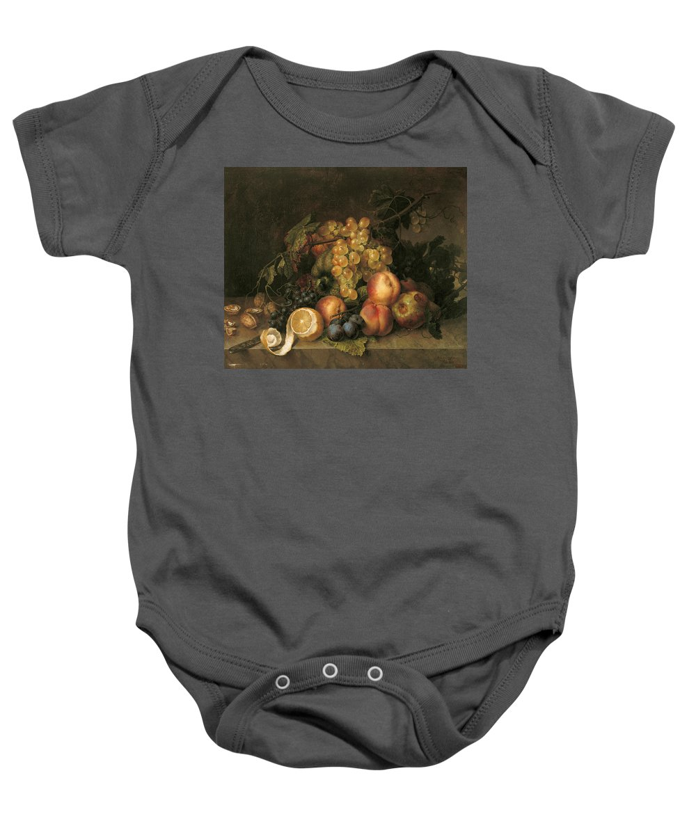 19th Century Art Baby Onesie featuring the painting Still Life, 1808 by Francisco Lacoma y Fontanet