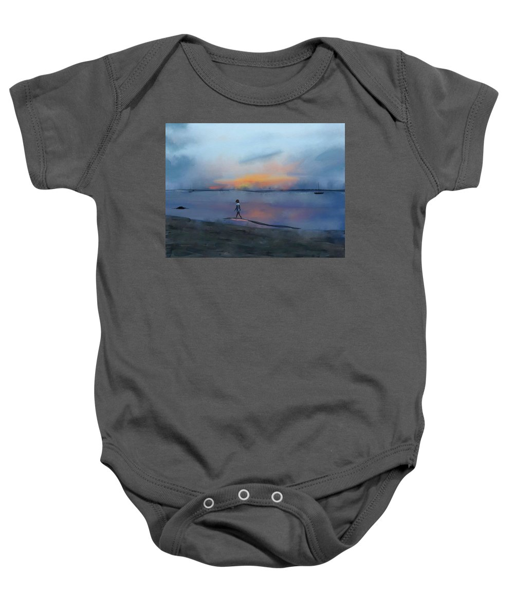 Beach Baby Onesie featuring the digital art Sunset Beach by Marvin Campbell
