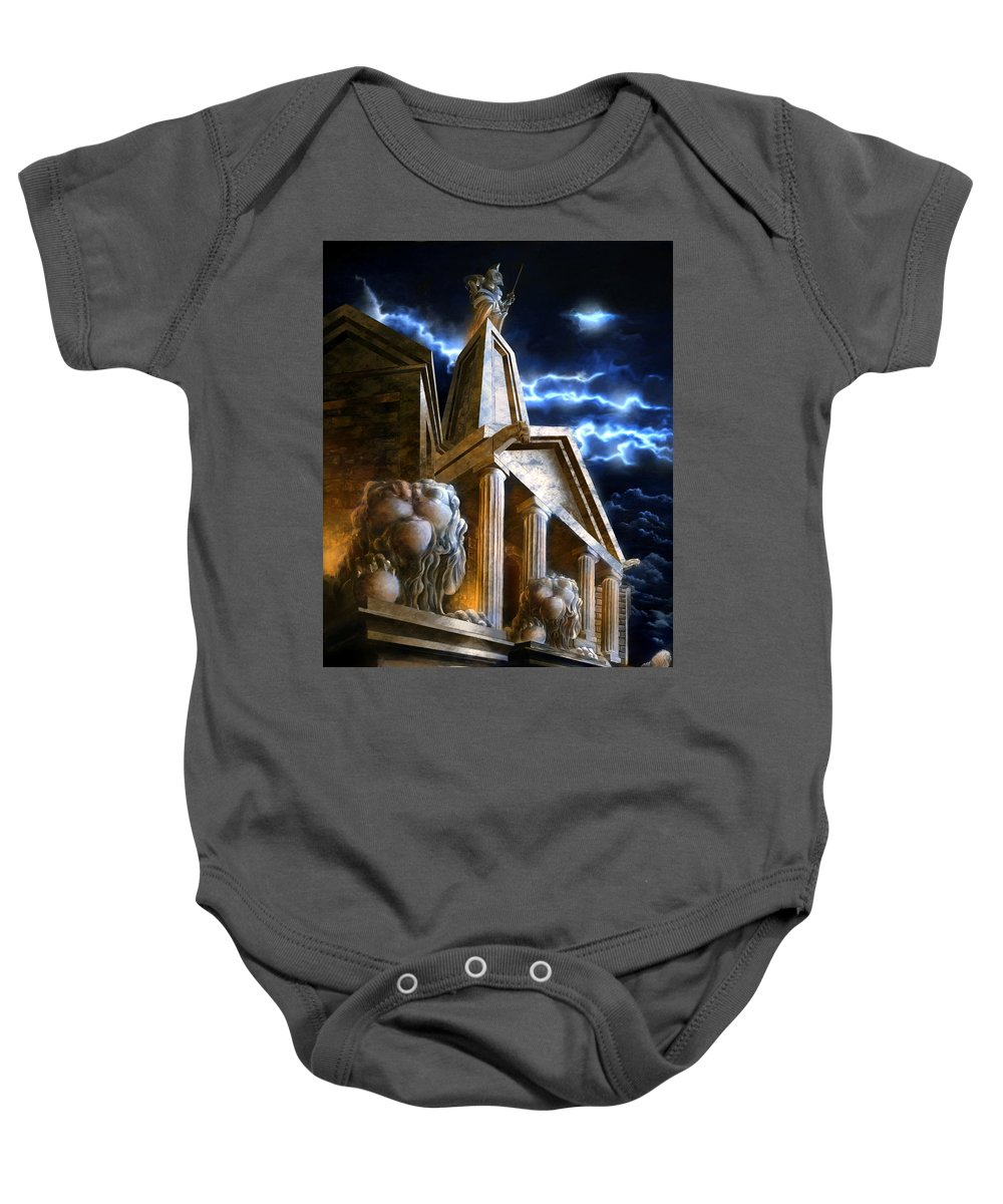 Hercules Baby Onesie featuring the mixed media Temple Of Hercules In Kassel by Curtiss Shaffer
