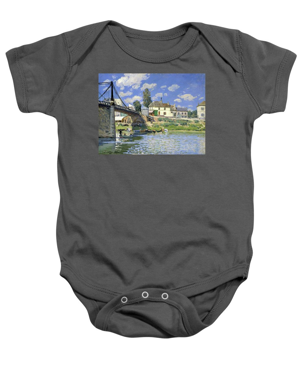 Alfred Sisley Baby Onesie featuring the painting The Bridge At Villeneuve-la-garenne - Digital Remastered Edition by Alfred Sisley