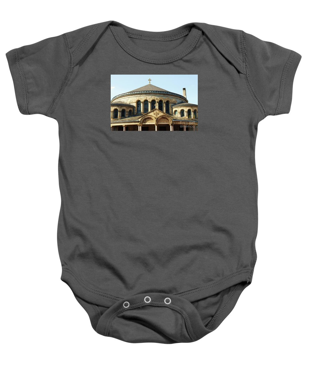 Greek Orthodox Baby Onesie featuring the photograph The Greek Orthodox Cathedral On Preston Street Baltimore by Marcus Dagan