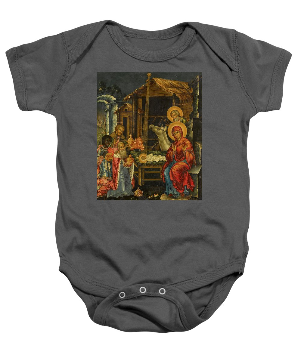 The Nativity Baby Onesie featuring the painting The Nativity, Russia, 1848 by Russian Art