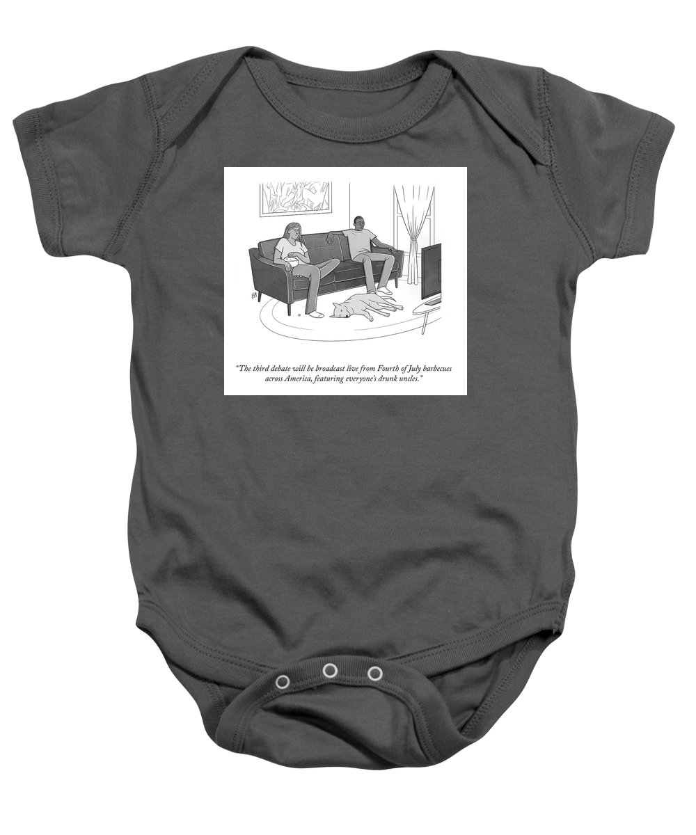 The Third Debate Will Be Broadcast Live From Fourth Of July Barbecues Across America Baby Onesie featuring the drawing The Third Debate by Lila Ash