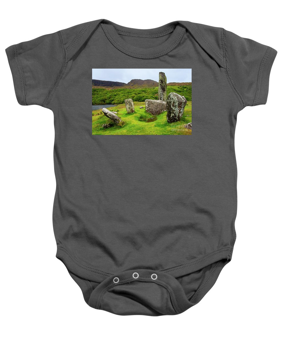 Uragh Stone Circle Baby Onesie featuring the photograph Uragh Stone Circle by Bob Phillips