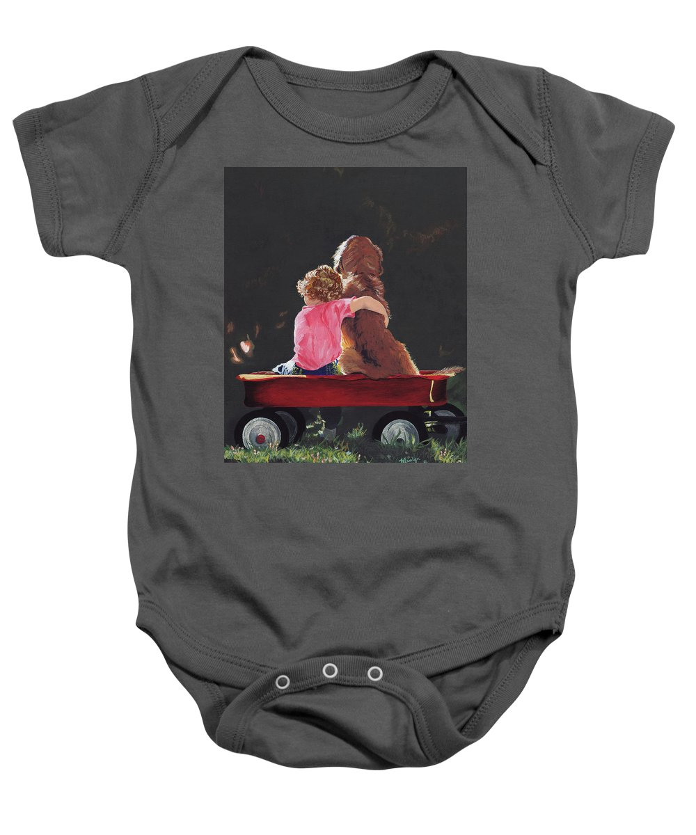 Little Baby Onesie featuring the painting Wagon Buddies by Marilyn Gray