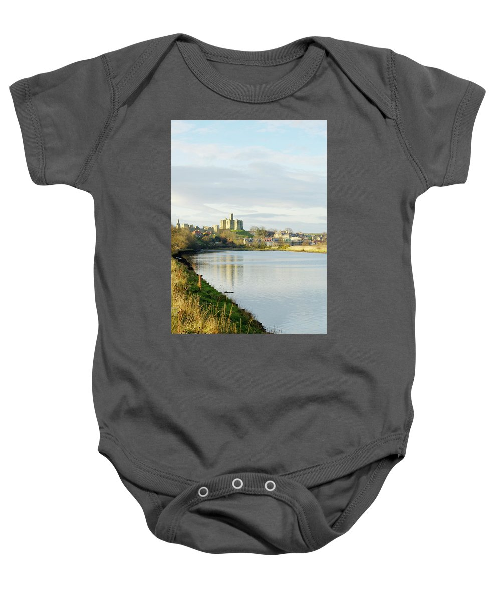 Castle Baby Onesie featuring the photograph Warkworth Castle And River Aln by Victor Lord Denovan
