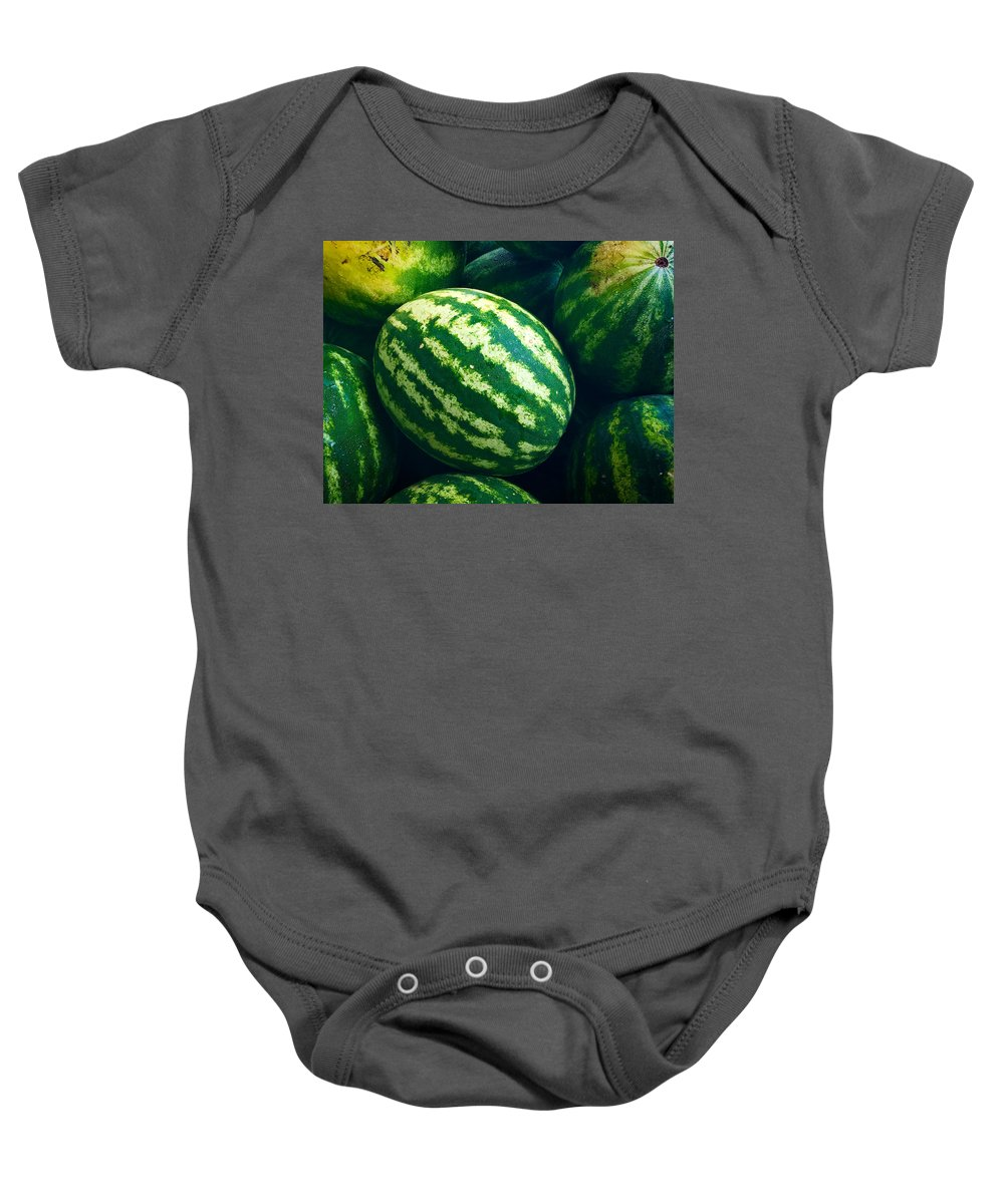 Watermelons Baby Onesie featuring the photograph Watermelons by Nathan Little