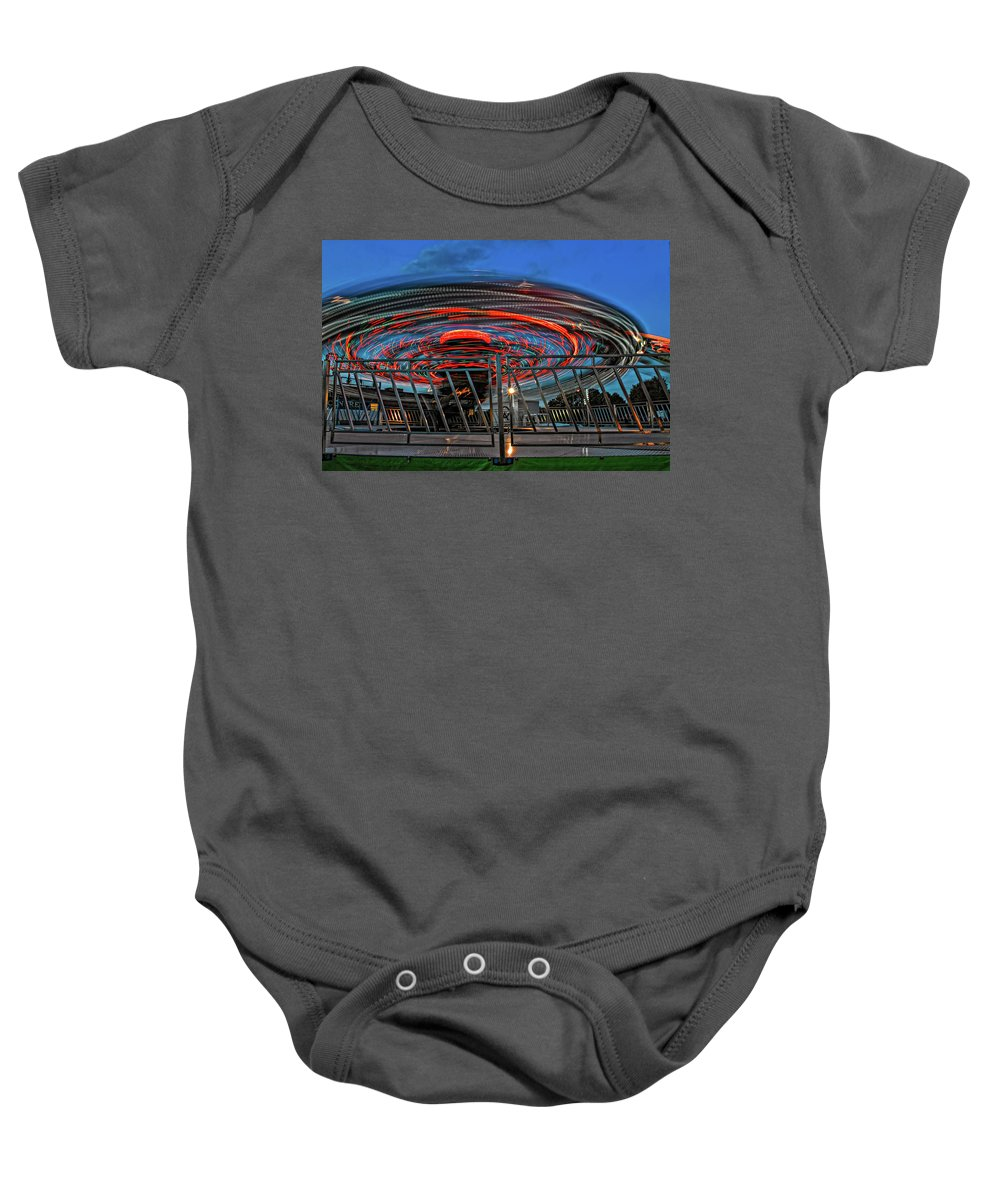Bolton Fall Fair Baby Onesie featuring the photograph Whirling Into Fall 2 by Steve Harrington