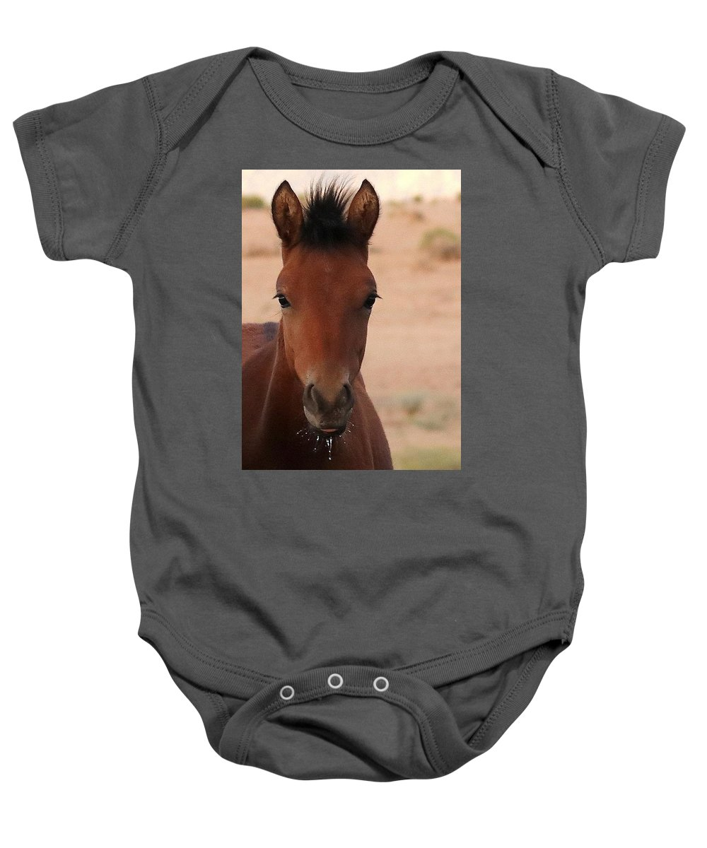 Wild Horse Baby Onesie featuring the pyrography Wild Horse Luke by Cheryl Broumley