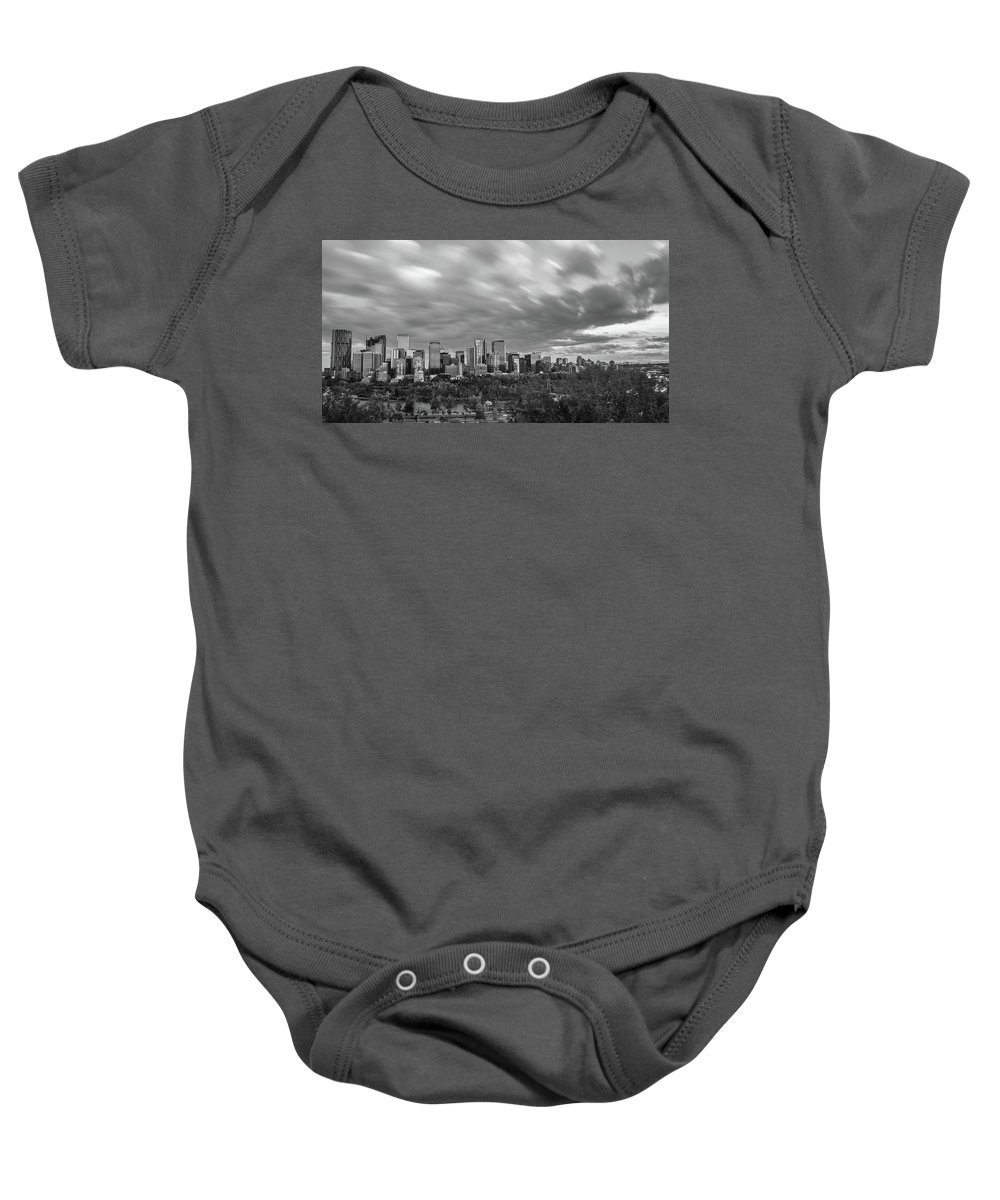 Alberta Baby Onesie featuring the photograph Windy Evening Calgary Downtown Bw by Bruno Doddoli