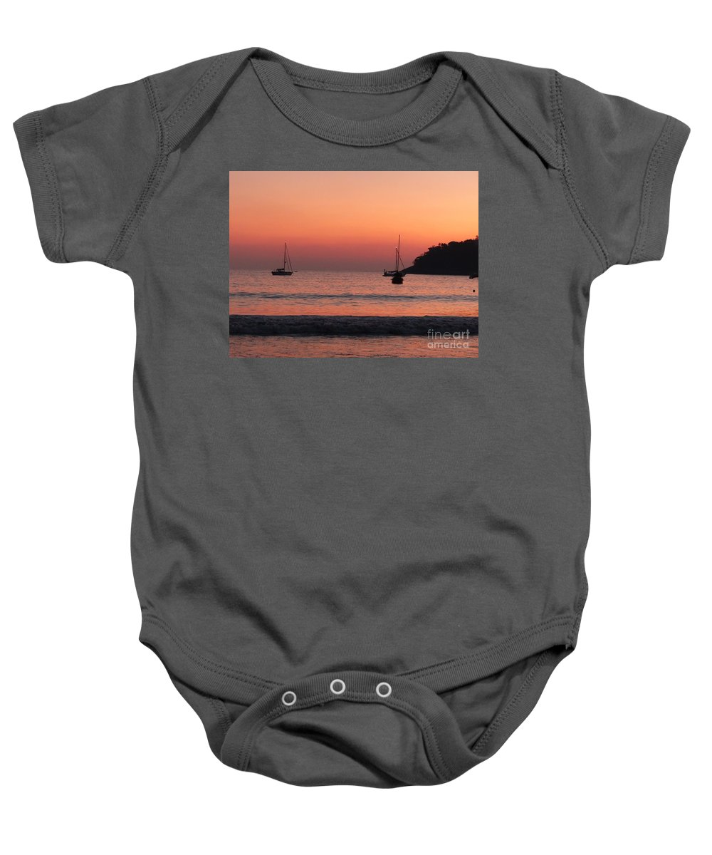 Red-gold Sunset Baby Onesie featuring the photograph Z For Zihuatanejo by Rosanne Licciardi