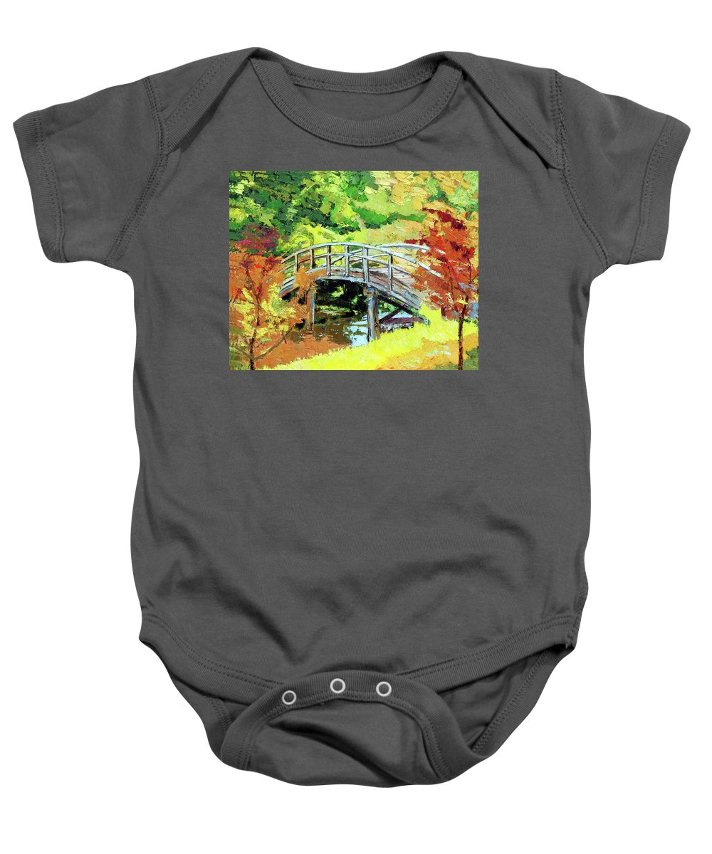 Bridge Baby Onesie featuring the painting Drum Bridge in Autumn by John Lautermilch