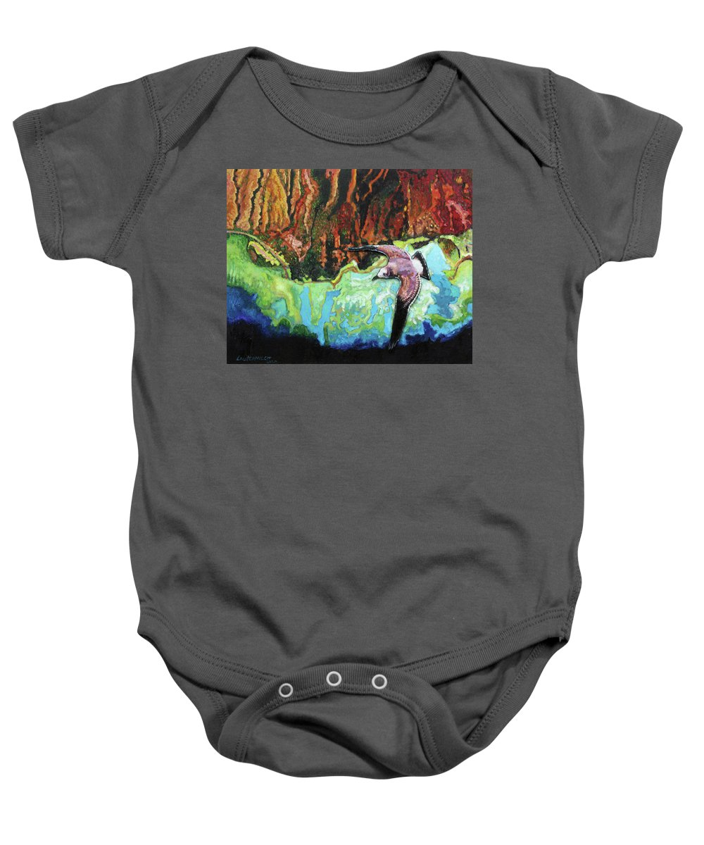 Sea Gull Baby Onesie featuring the painting Flying High by John Lautermilch