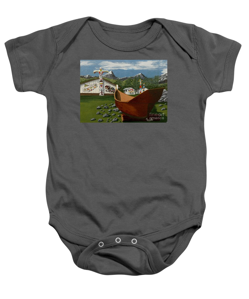 Haida Baby Onesie featuring the painting Haida by Anthony Dunphy