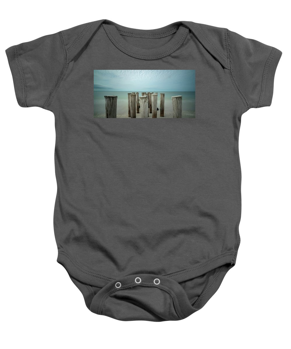 Naples Florida 2021 Baby Onesie featuring the photograph Naples Pilings 2021 by Joey Waves