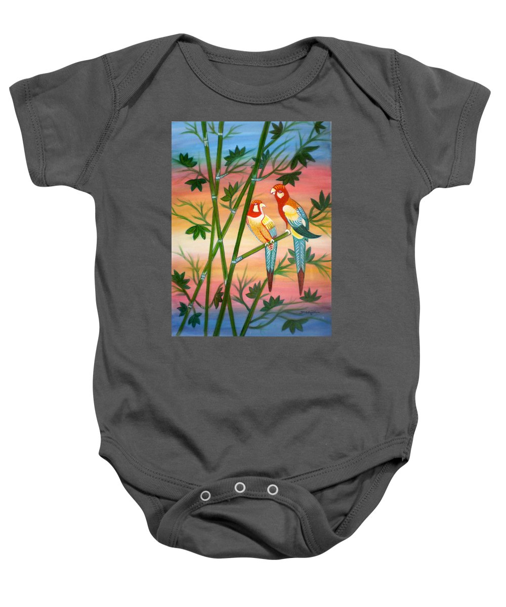 Acrylic Baby Onesie featuring the painting Birds in Paradise by Manjiri Kanvinde