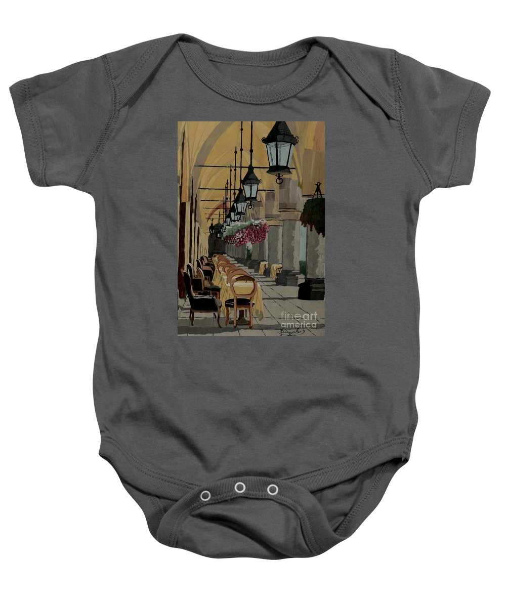 Cafe Baby Onesie featuring the painting A Place in the Shade by Anthony Dunphy