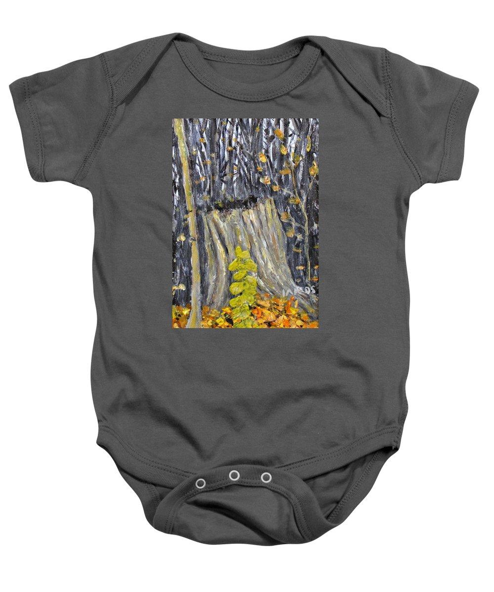 Stump Baby Onesie featuring the painting Autumn Stump by Ian MacDonald