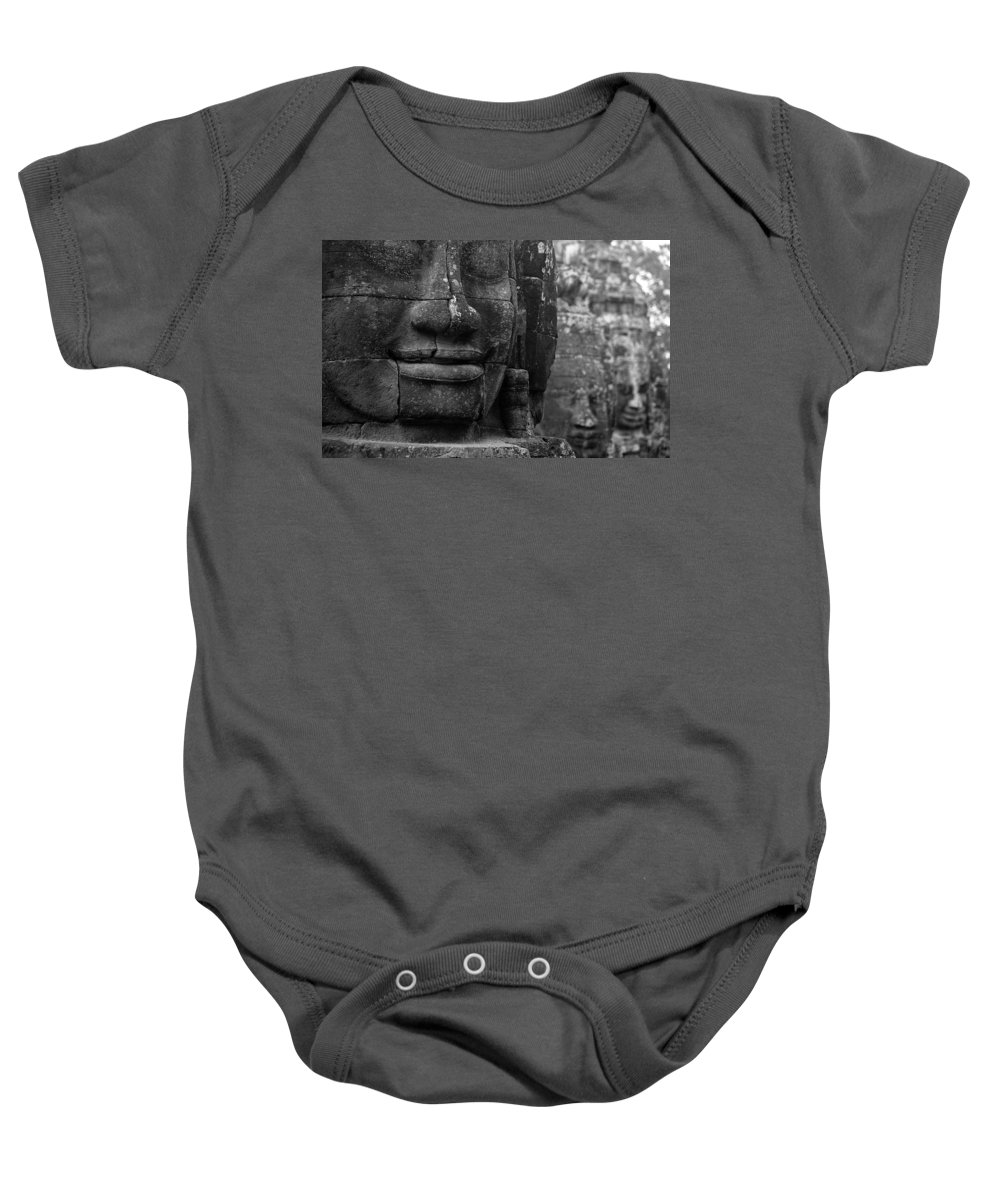Bayon Baby Onesie featuring the photograph Bayon Temple - Angkor by Patrick Klauss