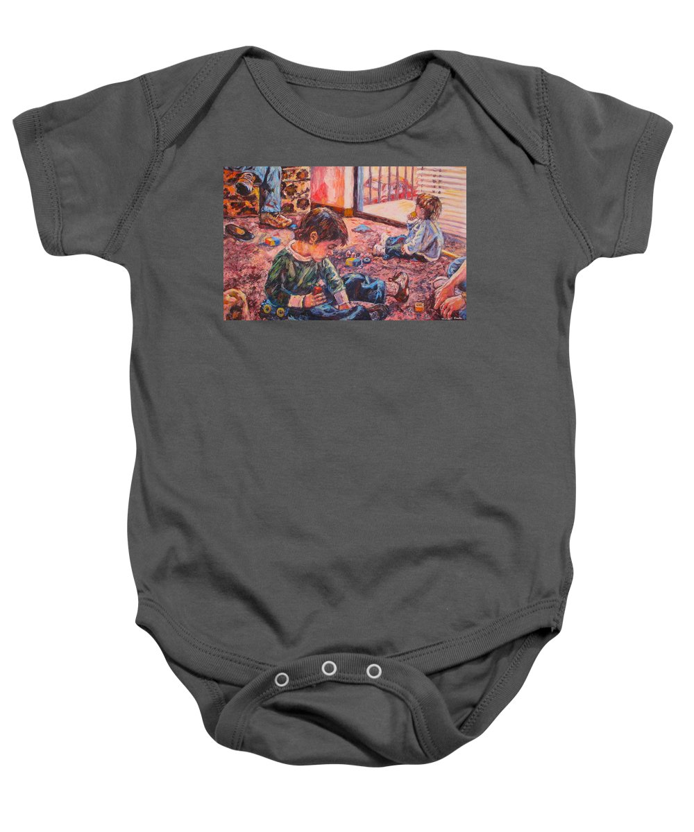 Figure Baby Onesie featuring the painting Birthday Party or a Childs View by Kendall Kessler