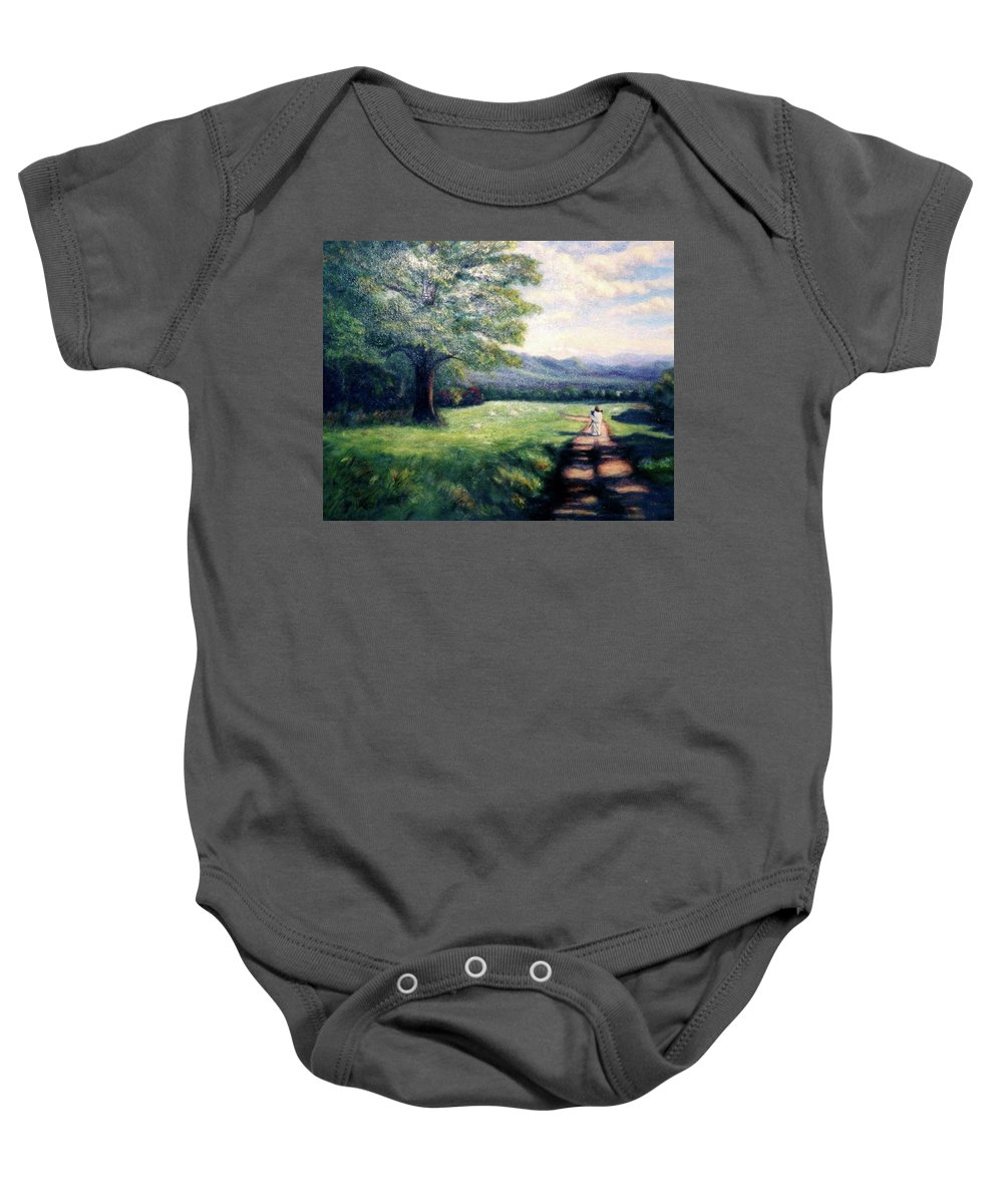 Christian Baby Onesie featuring the painting Black Sheep by Gail Kirtz
