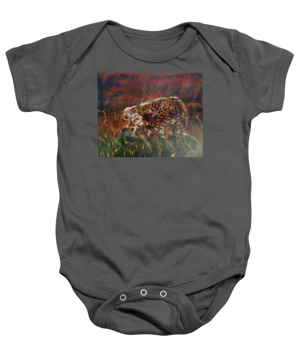 Oil Painting On Canvas Baby Onesie featuring the painting Cheetah Family After The Rains by Sean Connolly