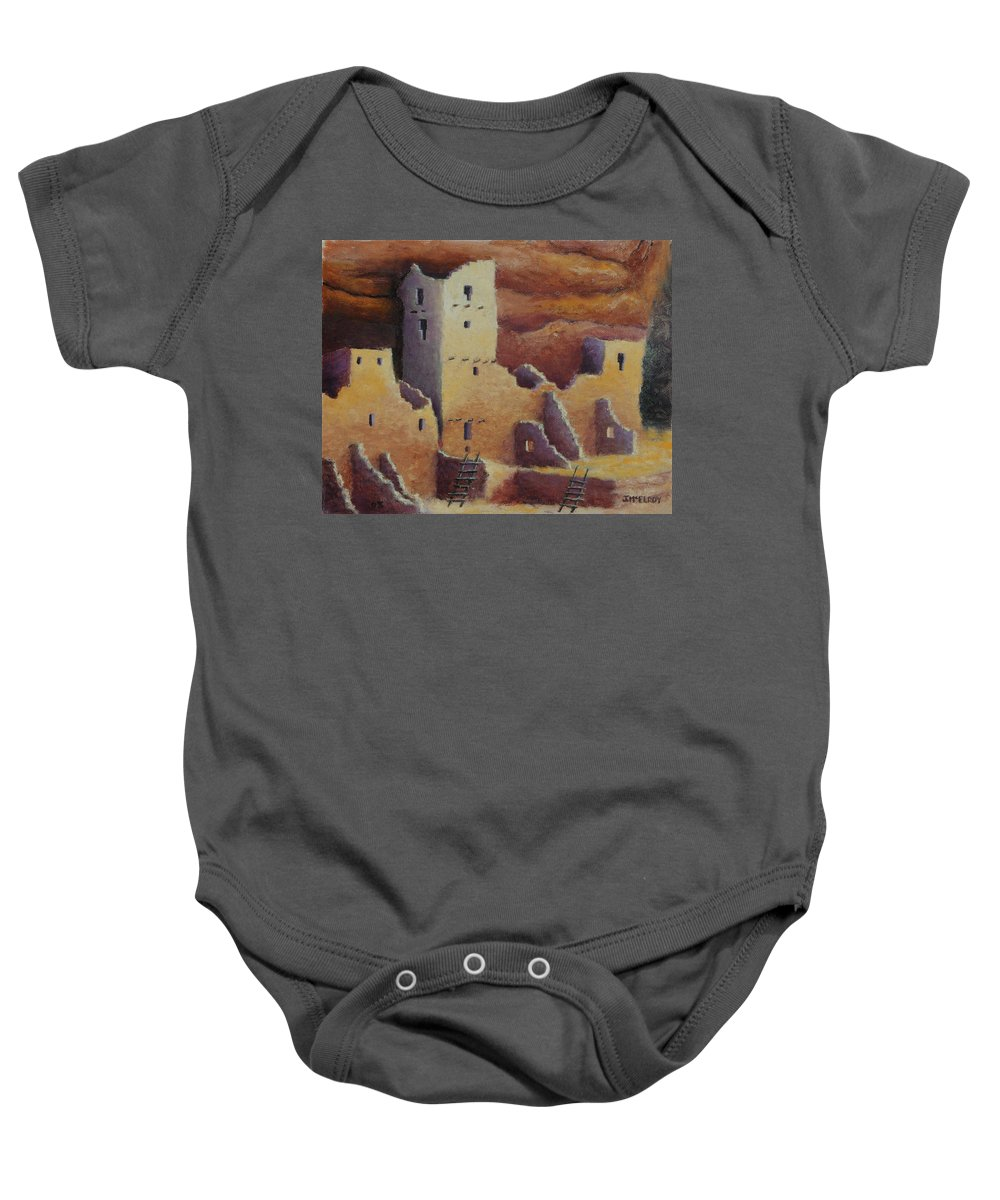 Anasazi Baby Onesie featuring the painting Cliff Pallace by Jerry McElroy