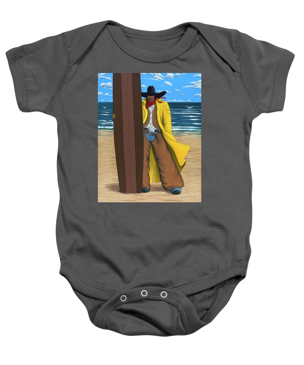 Local Surfer Baby Onesie featuring the painting Cowboy Surfer by Lance Headlee