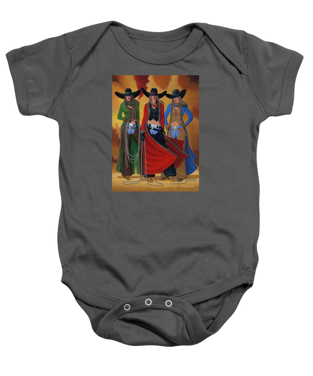 Cowgirl Baby Onesie featuring the painting Cowgirl Up by Lance Headlee