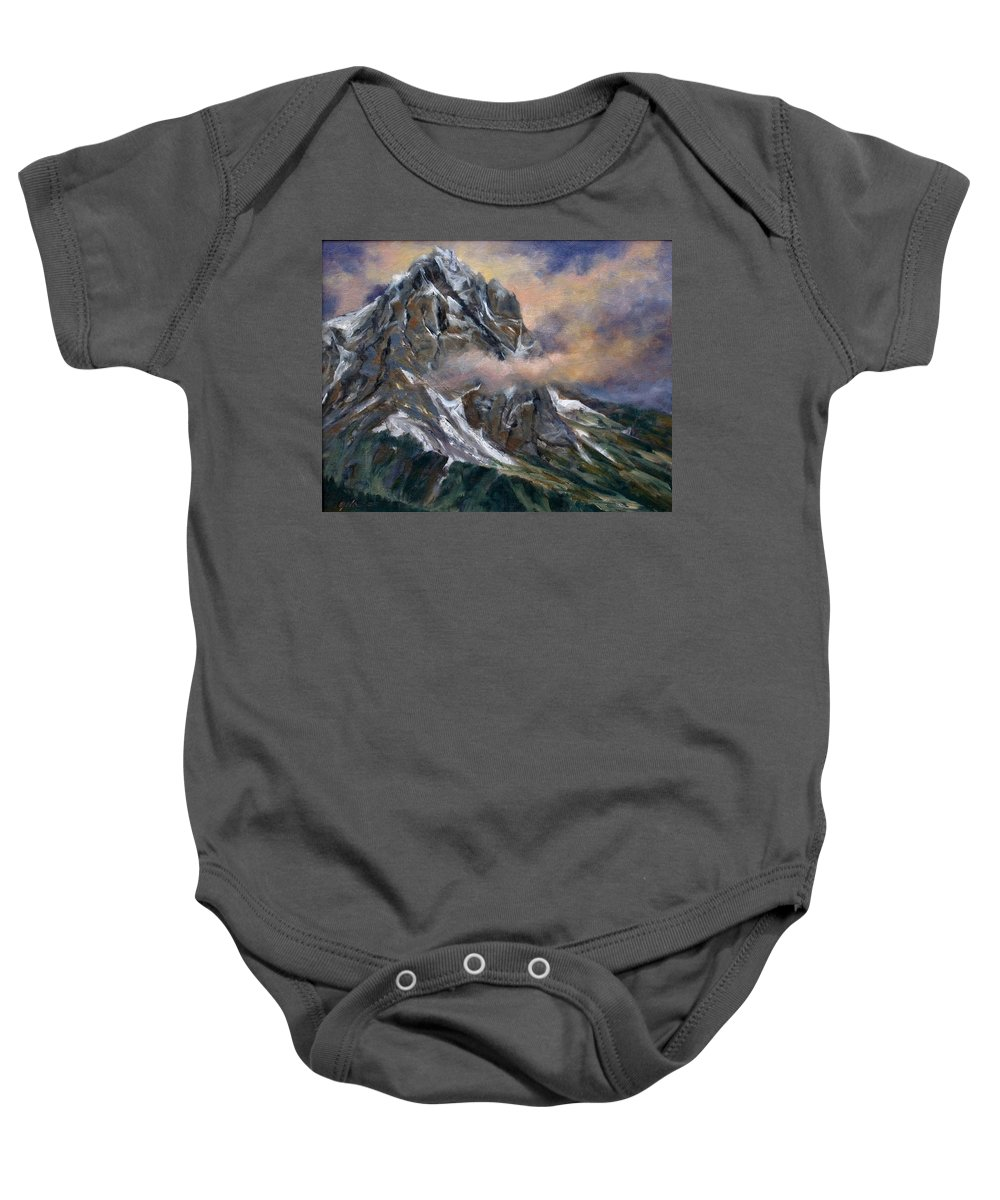 Landscape Baby Onesie featuring the painting Daddy Teton by Jim Gola