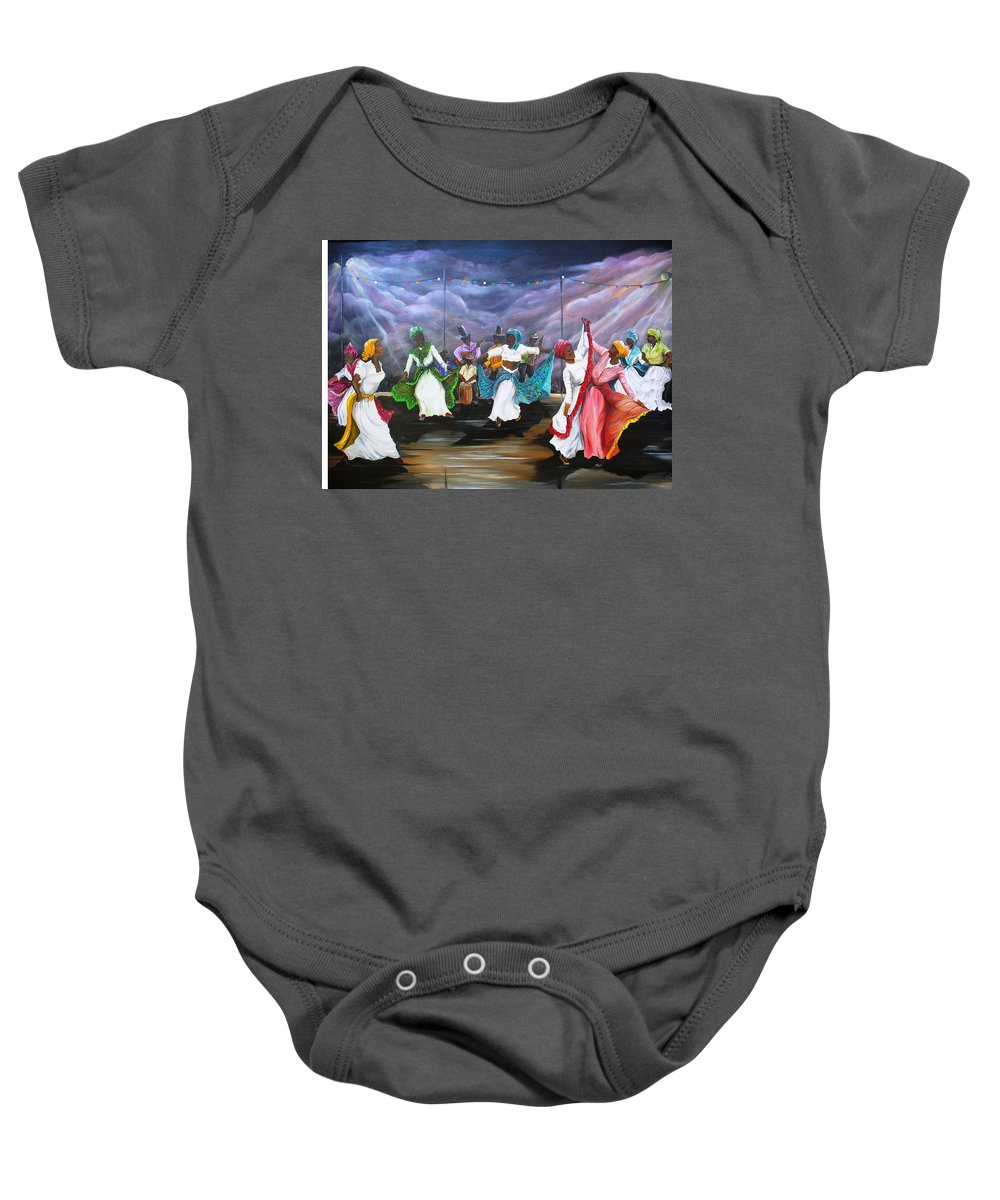 Caribbean Painting Original Painting Folklore Dance Painting Trinidad And Tobago Painting Dance Painting Tropical Painting Baby Onesie featuring the painting Dance The Pique by Karin Dawn Kelshall- Best