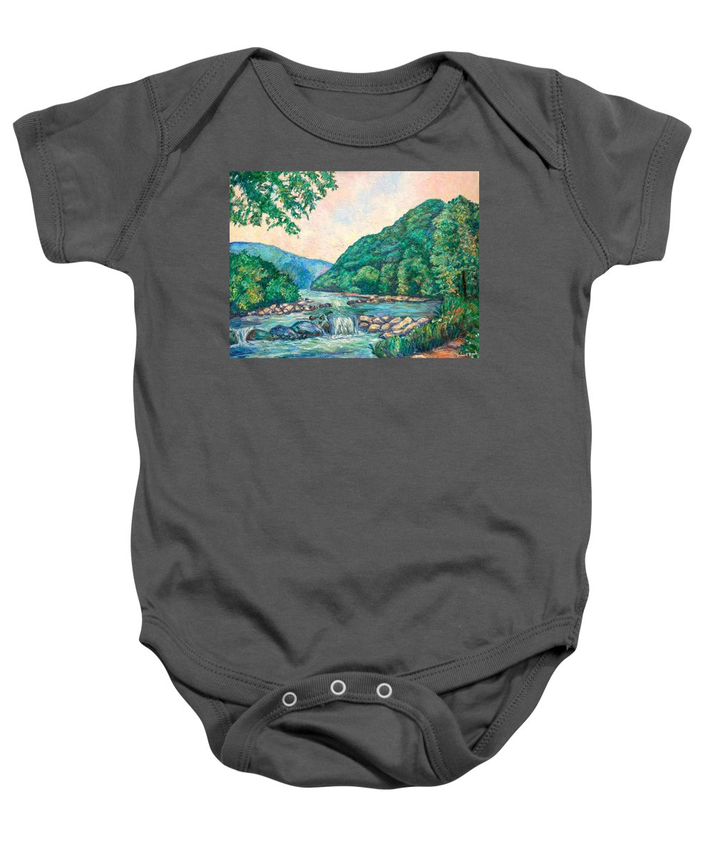 Landscape Baby Onesie featuring the painting Evening River Scene by Kendall Kessler