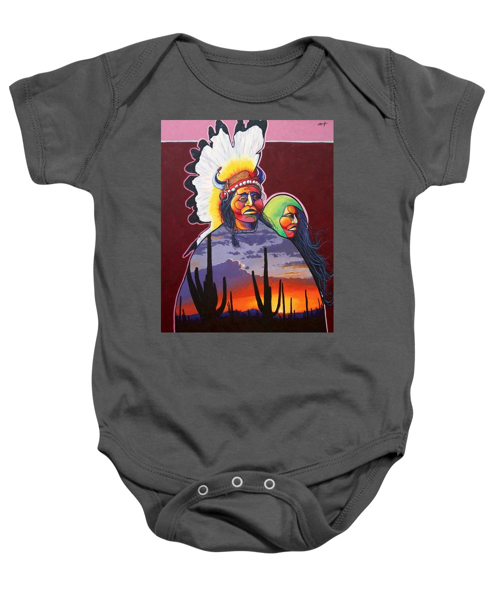 Native American Indians Baby Onesie featuring the painting Finding Inner Peace by Joe Triano