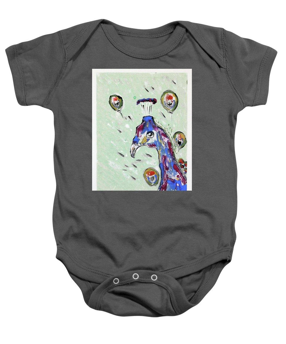 Monotype Baby Onesie featuring the mixed media Grand Splendor by Cori Solomon