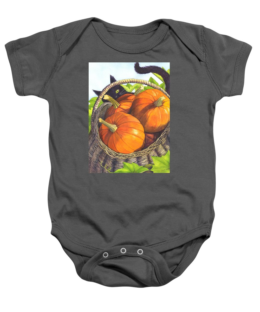 Pumpkin Baby Onesie featuring the painting Harvest by Catherine G McElroy