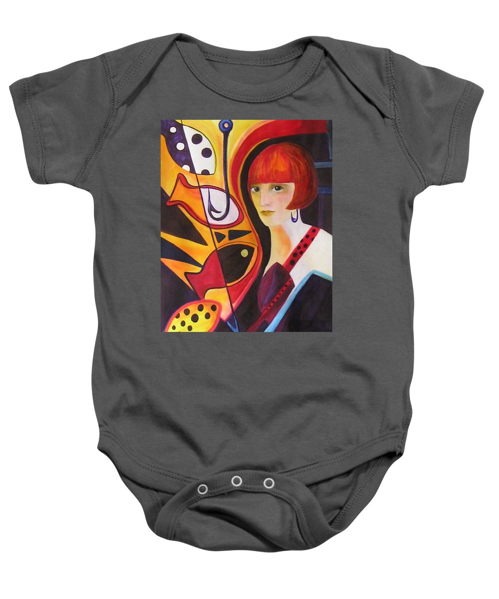 Woman Baby Onesie featuring the painting Hooked by Carolyn LeGrand