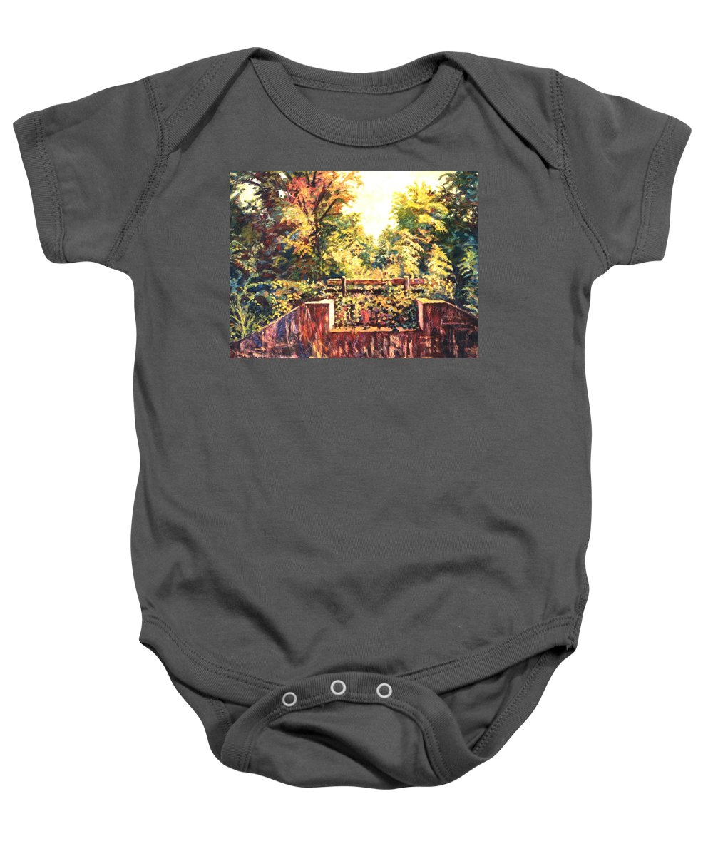 Landscape Baby Onesie featuring the painting Huckleberry Line Trail by Kendall Kessler