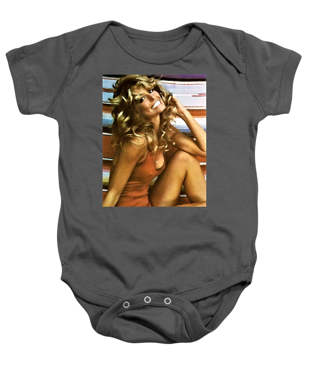 Farrah Baby Onesie featuring the photograph Iconic Farrah Water Color by Rob Hans