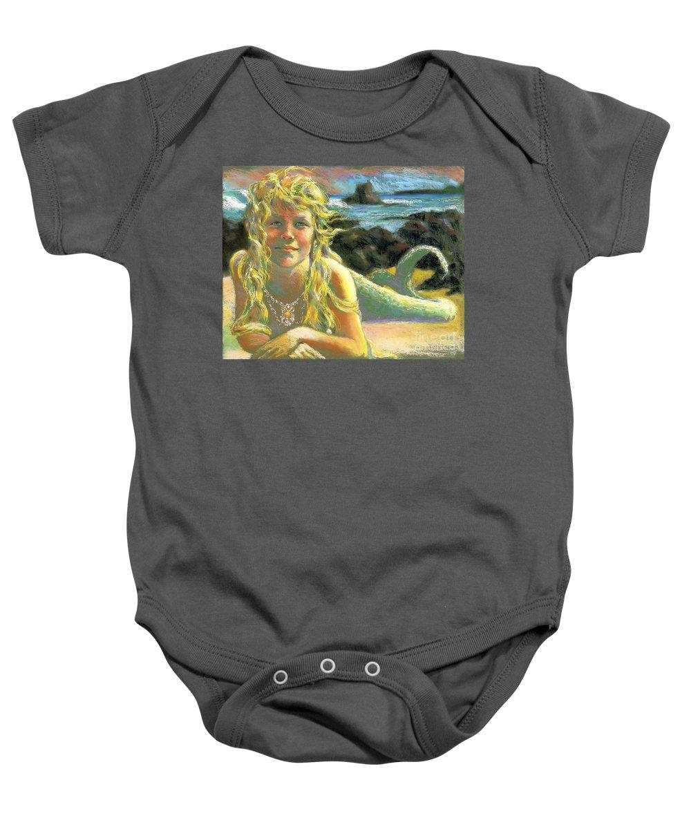 Mermaid Baby Onesie featuring the painting Kealia Mermaid by Isa Maria