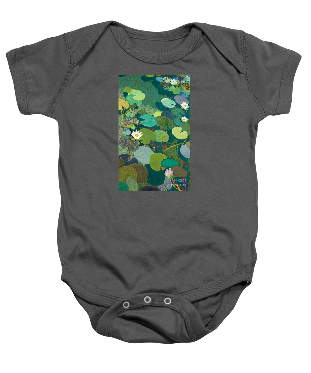 Landscape Baby Onesie featuring the painting Lazy Pond by Allan P Friedlander
