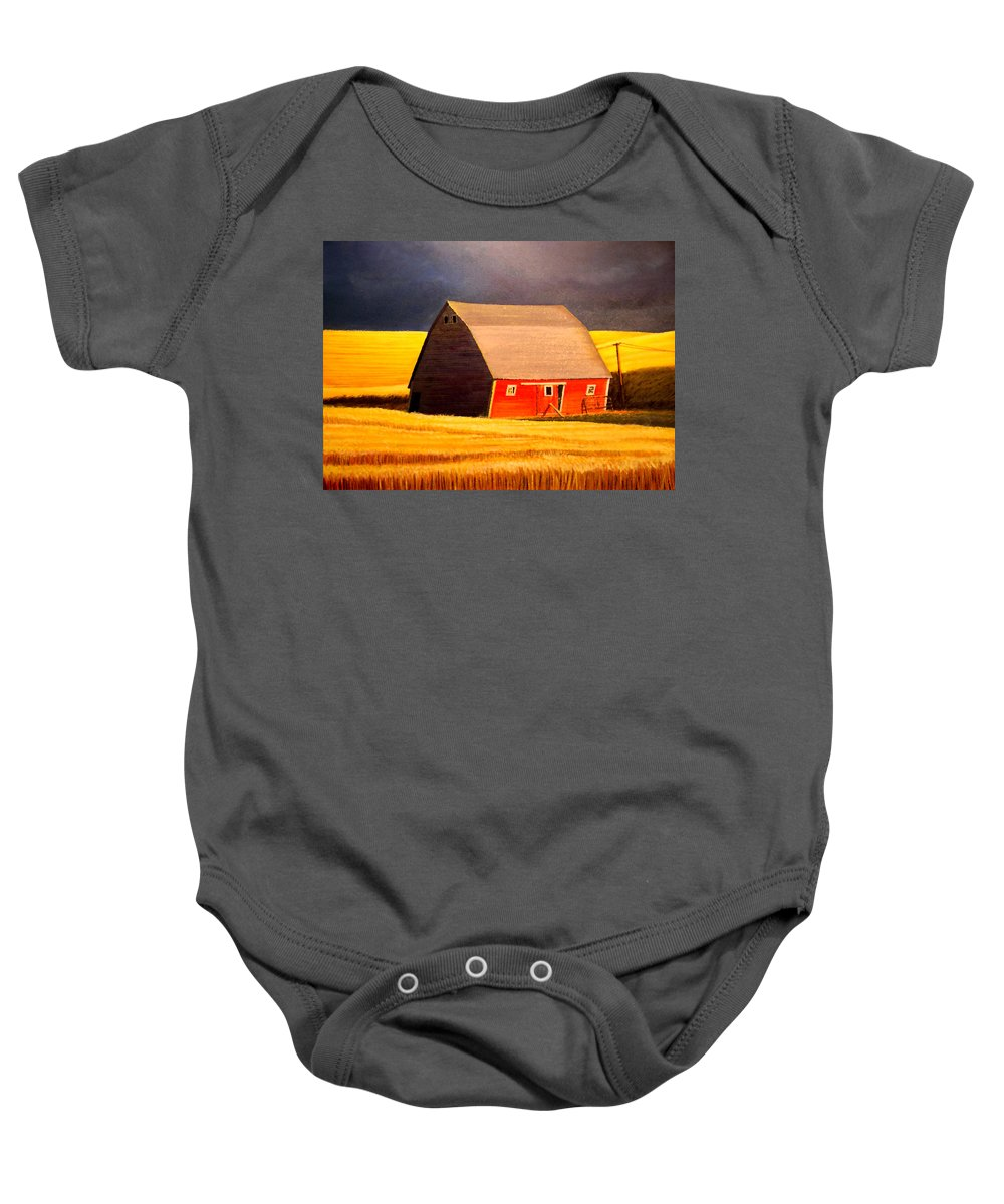 Barn Baby Onesie featuring the painting Leans to the Right by Leonard Heid