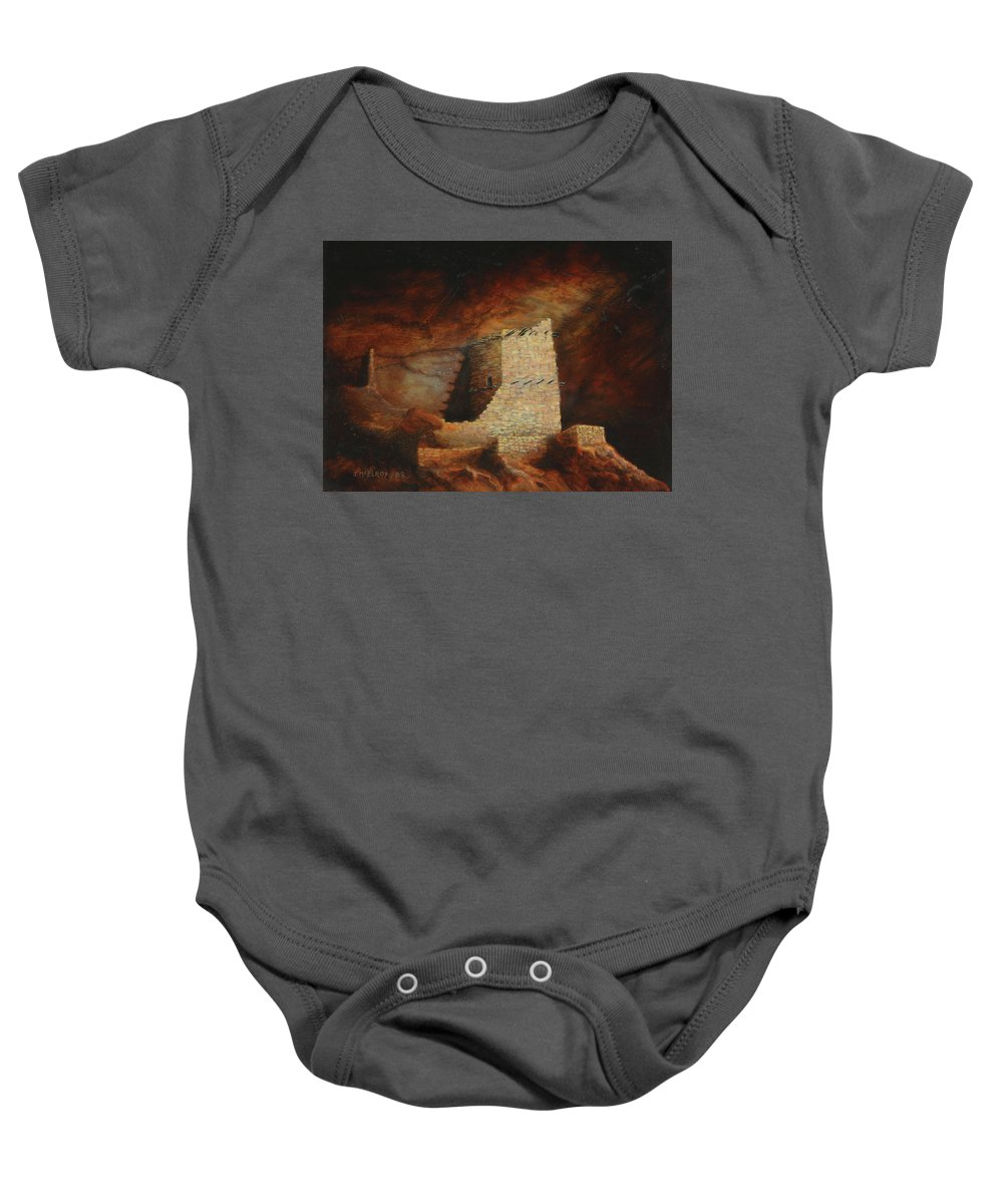 Anasazi Baby Onesie featuring the painting Mummy Cave by Jerry McElroy
