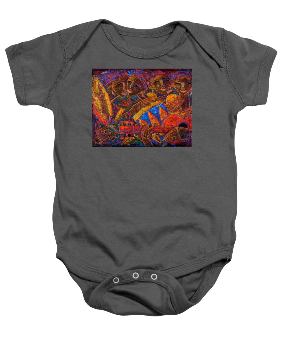 Puerto Rico Baby Onesie featuring the painting Musas Del Caribe by Oscar Ortiz