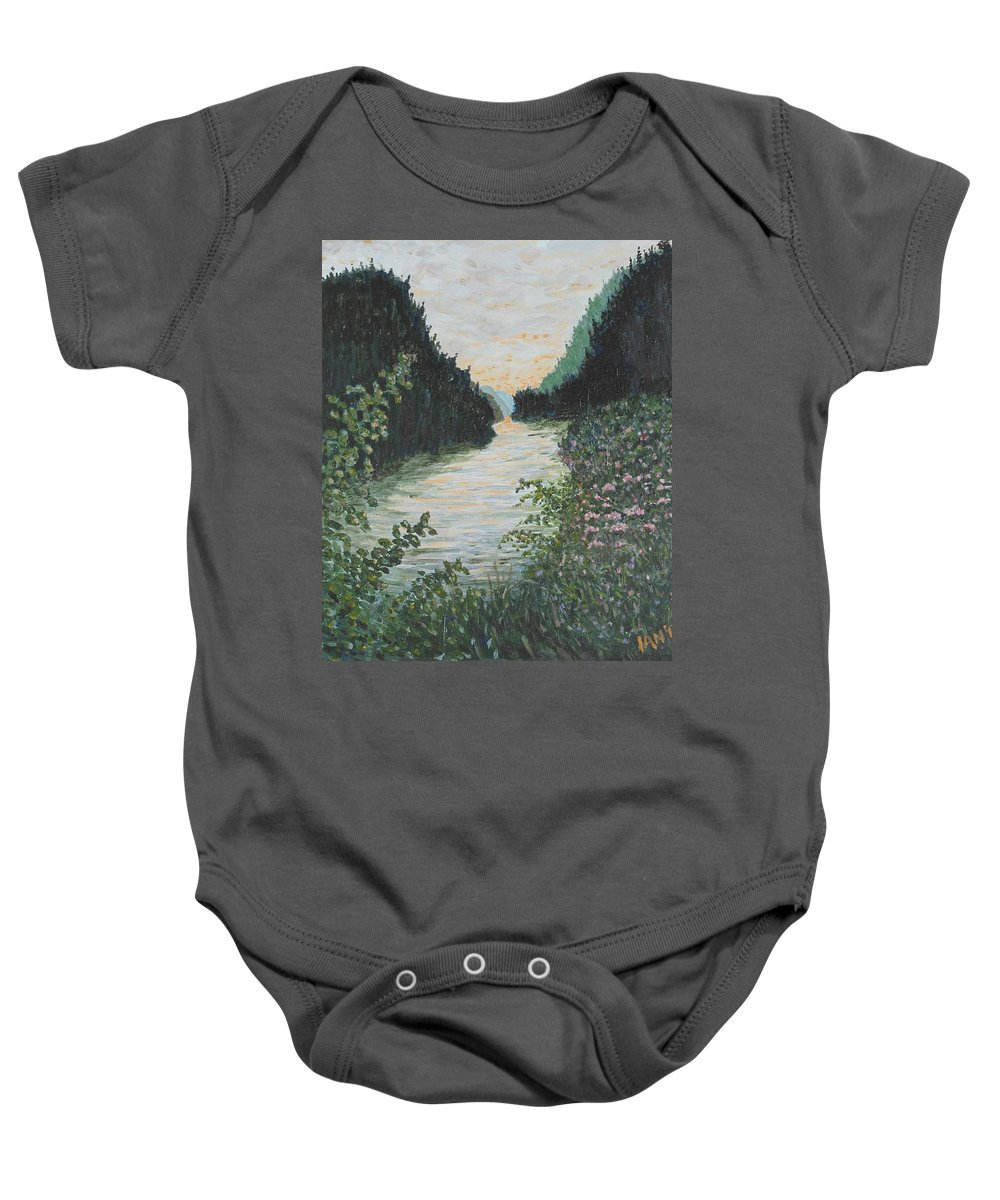 Agawa Canyon Baby Onesie featuring the painting North of Sault Ste. Marie by Ian MacDonald