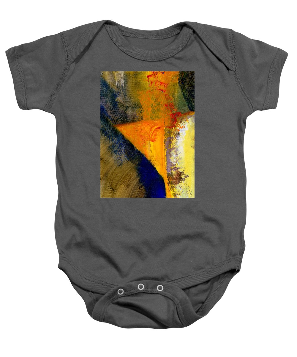 Rustic Baby Onesie featuring the painting Orange and Blue Color Study by Michelle Calkins