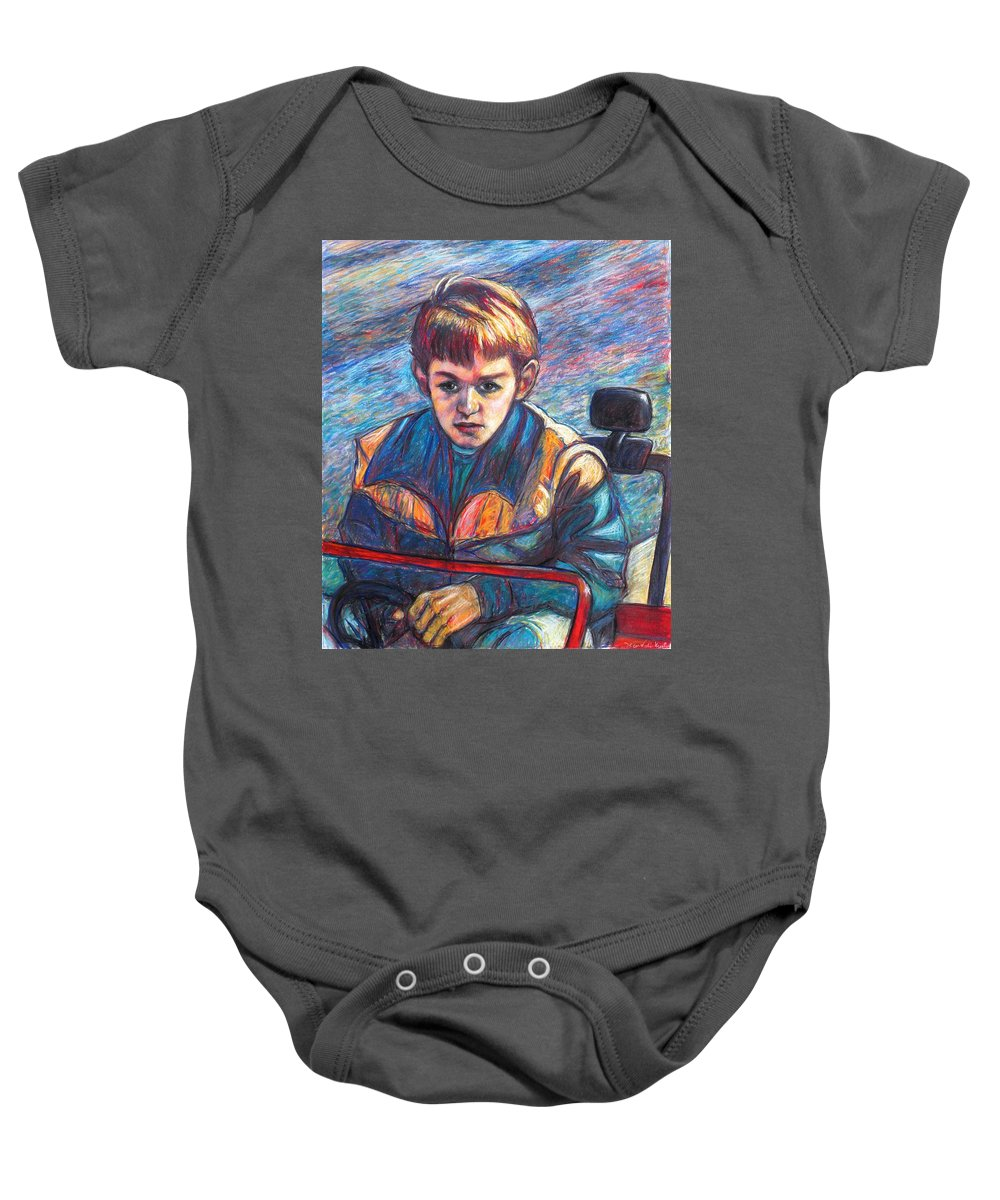 Impressionism Baby Onesie featuring the painting Paul in Alans Jeep by Kendall Kessler