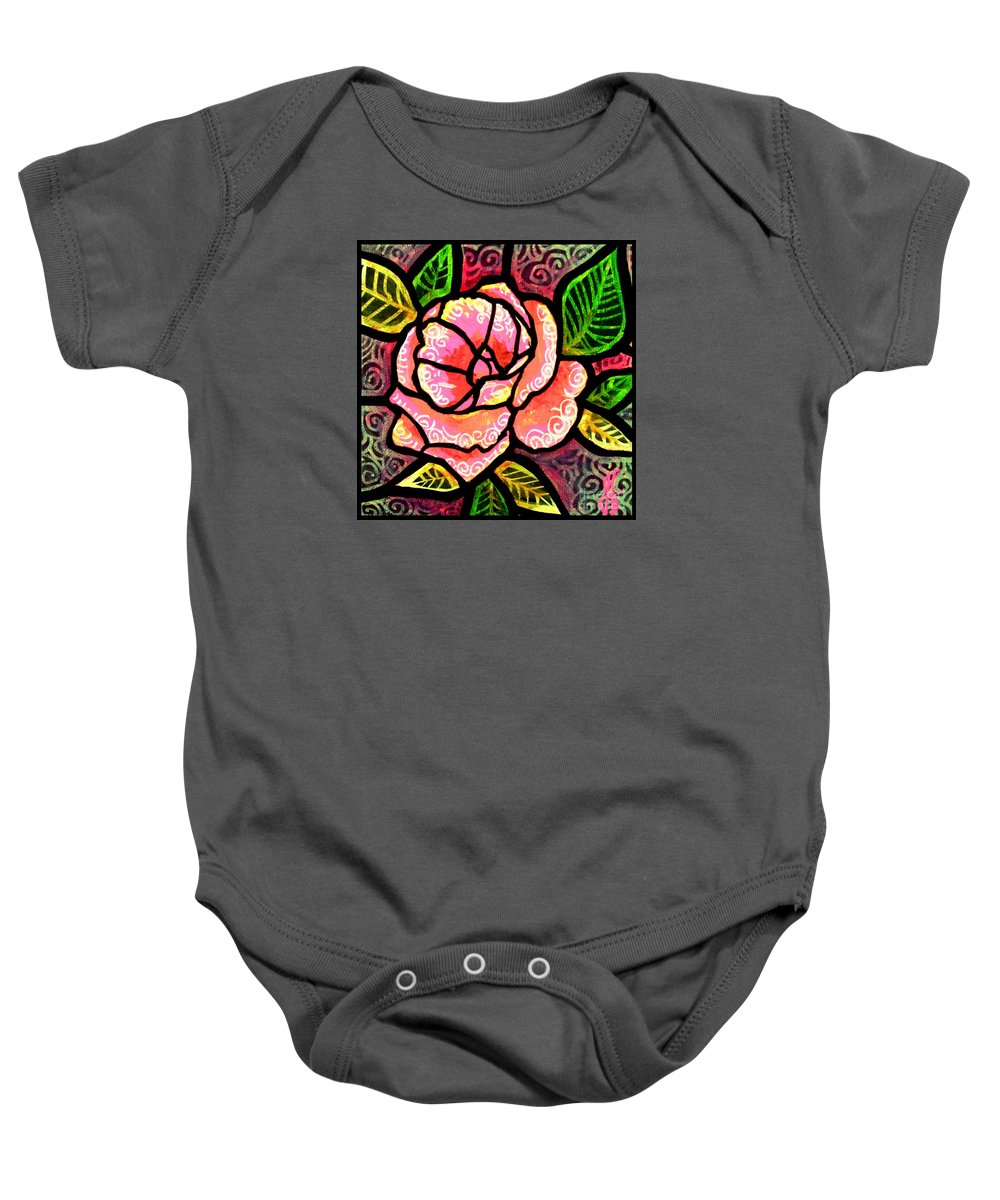 Rose Baby Onesie featuring the painting Pink Rose of Love by Jim Harris