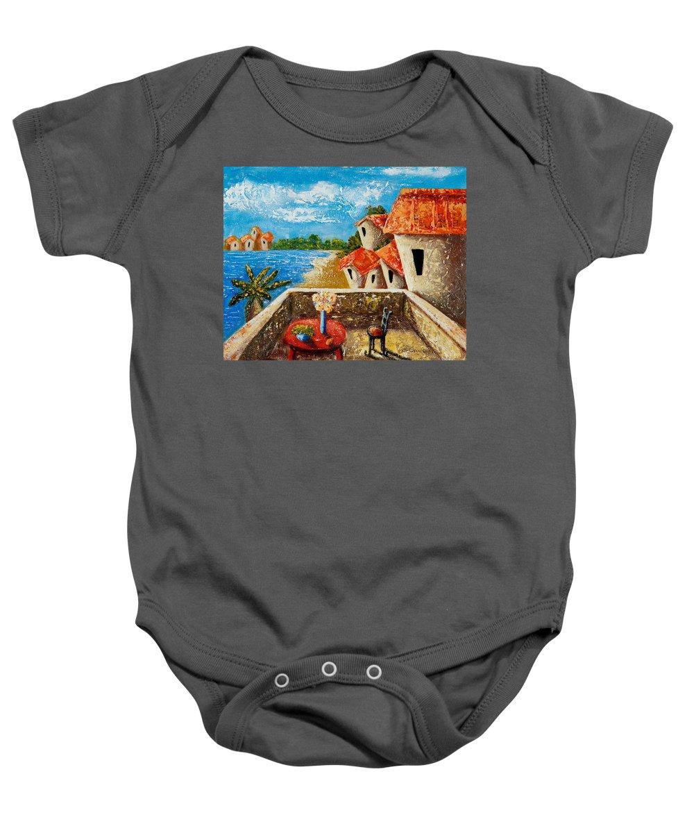 Landscape Baby Onesie featuring the painting Playa Gorda by Oscar Ortiz